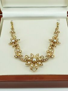 15ct Gold Victorian / Edwardian Seed Pearl Floral Necklace. Fab-u-Lus. NICE1