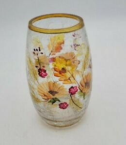YANKEE CANDLE Yellow Flower Crackle Glass Votive Candle Holder