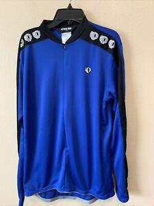 Pearl iZumi Technical Wear Mens Cycling Jersey Size L Blue 1/4 Zip Long Sleeve