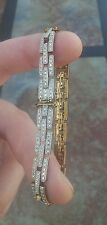 925 STERLING SILVER BRACELET STUDDED WITH WHITE STONES