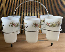 More details for set of six vintage phoenix milk glass fruit drinking tumblers in chrome stand