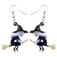 Acrylic Halloween Broomstick Witch Earrings Dangle Party Jewelry For Women Gifts