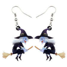Party Jewelry For Women Gifts Acrylic Halloween Broomstick Witch Earrings Dangle