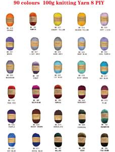 Knitting Yarn 8 Ply Soft Crochet Craft Polyester 100g 56 Colours