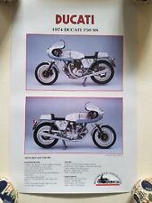 1974 DUCATI 750 SS POSTER MOTORCYCLE COLLECTOR MAGAZINE 11 X 17 MINT SPECS
