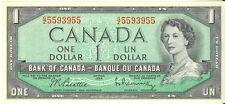 Bank of Canada 1954 $1 One Dollar 3 Digit Radar Note G/Z Prefix 5593955 AU/UNC