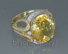 Solid 18kt Two Stone Gold Diamond Citrine Engagement Wedding Gemstone Ring