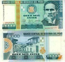 PEROU billet neuf de 10000 INTIS Pick140 Rue de  Santiago de Chuco CESAR VALLEJO