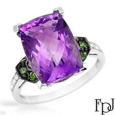 FPJ Brand NEW 14K Gold Cocktail Ring w/ Amethysts & Diamonds - 6.38 ctw - Size 7