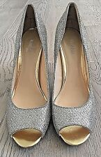 Nine West Womens Gold Glitter Heels Size 9.5 Peep Toe Stiletto Wedding #394