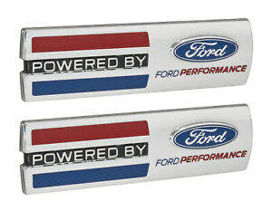 "Mustang ""Powered By Ford Performance"" 5.5"" Emblems Fender Badges Chrome - Pair"