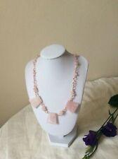 Rose Quartz Trapezoid Gemstone Fashion Statement Necklace