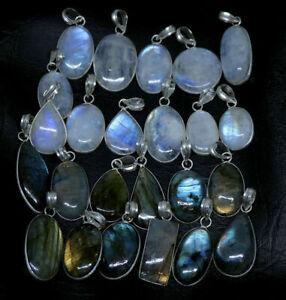 Pcs Natural Flashy LABRADORITE MOONSTONE Gemstone Silver Plated Bezel Pendants