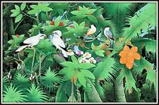 """Balinese Painting """"Starlings with their Friends""""  Incredible!  (33"""" H x 52.5"""" W)"""