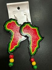 MAP OF AFRICA WOOD BLACK GREEN YELLOW RED FASHION JEWELLERY EARRINGS 9cm x 5cm