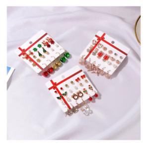 Christmas Earrings Set 12 Pair Santa Tree Reindeer Snowflake Bells Angel Gift UK