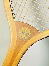 "Spalding ""The Favorite"" Checkered Handle Antique Tennis Racquet c1896 - RARE"