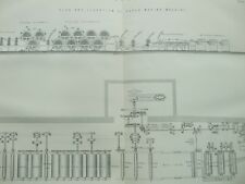 ANTIQUE PRINT C1870'S PAPER PLAN & ELEVATION OF PAPER MAKING MACHINE ENGRAVING