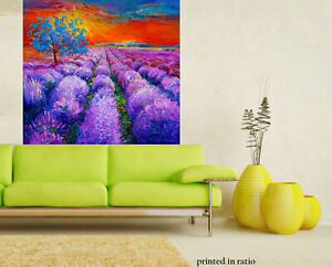Sunset Painting landscape art orginal print poster field garden flowers trees