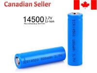 14500 high capacity 800 mAh 3.7V Li-Ion rechargeable battery button top - 2 PCS