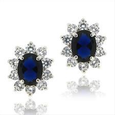 925 Sterling Silver Sapphire CZ Earrings