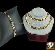 "Real 10k Gold Miami Cuban Diamond Cut 26 Inch Chain Necklace & 9"" Bracelet Set A"