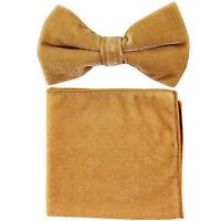 New in box formal men's pre tied Bow tie & Pocket Square Hankie Velvet Gold