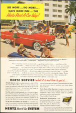 1950's Vintage ad  Hertz Service Rent-A-Car System Beach red retro    (051418)