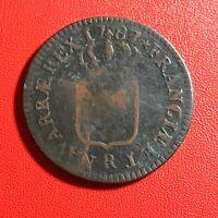 #1570 - RARE - Louis XVI Sol 1787 R Orléans - FACTURE