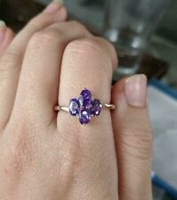 Genuine Amethyst 4-Stone Ring 14K YG over Sterling Silver 2.75 Carats Size 9
