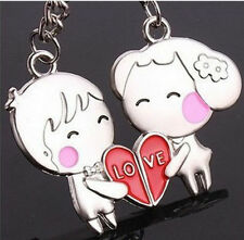 2pc Set Boy Girl Heart Couple Key Chain Ring Jewelry Love His Hers Friendship