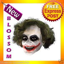 A166 Adult The Joker Dark Knight Batman 3/4 Vinyl Mask with Hair Costume