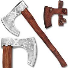 Viking Axe Sharp Sorcerer Fantasy Etched Carbon Steel Wood Handle & Sheath '