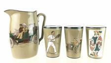 Vintage German Ceramic Porcelain Drinking Cup Glass Pitcher 4 Piece Set