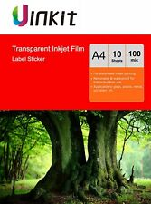 A4 Self Adhesive Stickers Clear Film For Inkjet Printer Uinkit - 10 Sheets