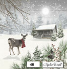 (46) TWO Individual Paper LUNCHEON Decoupage Napkins - WINTER CABIN DEER SNOW