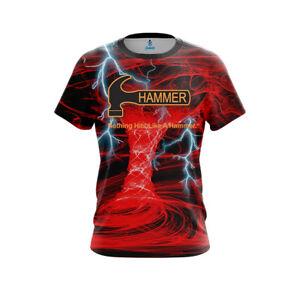 Hammer Men Dye Sub Electrical Tornado Red CoolWick Performance Bowling Shirt