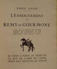 COULON Marcel DUFY L'ENSEIGNEMENT DE REMY DE GOURMONT - EDITION ORIGINALE 1924