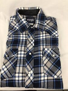 Mens Vintage Plaid Flannel WRANGLER Long Sleeve Shirt Large Tall PEARL SNAP Blue