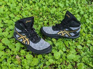 Dan Gable Asics Wrestling Shoes Matflex black stone gold Youth Boys Size 13