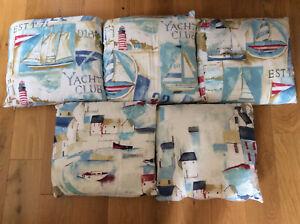 Bundle of 5 Westward Ho Nautical Design 43 x 40 cm Cushions, 100% Cotton Covers