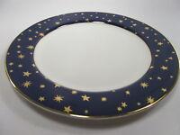 4 Galaxy Blue Sakura Porcelain China Dinner Plate 14k Trim Gold Stars Blue Rim