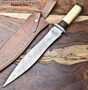 Rare!!! Beautiful Handmade Damascus Steel Dagger Knife | CAMEL BONE