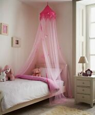 Large 230cm Pink Princess Bed Canopy Crown Stars Net Kids Girls