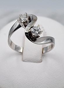 Brillant-Ring - 585er Weiß-Gold - 2 Brillanten , zus. 0,34 ct. - Ring-Gr.: 58