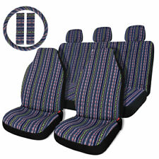 Multicolor Baja Inca Saddle Blanket Seat Cover Universal With Steering Wheel Cover