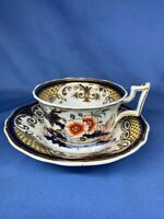 Vintage Antique Tea Cup and Saucer Blue Flower Print With Gold Trim