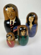 Bill Hillary Clinton, Monica Lewinsky Etc Wood Nesting Doll Hand-Painted Russian