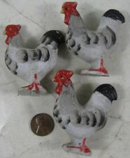 3 Vintage 1930's Made in Japan Porcelain Black & White Roosters