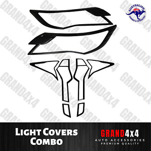 Front + Rear Light Covers Trim Combo to suit Mitsubishi Pajero Sport 2015 - 2019